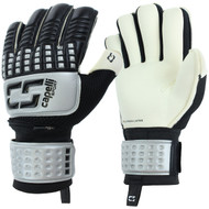 CS 4 CUBE COMPETITION ELITE YOUTH GOALKEEPER GLOVE WITH FINGER PROTECTION-- SILVER BLACK