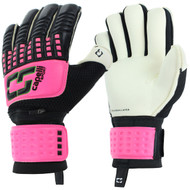 CS 4 CUBE COMPETITION ELITE ADULT GOALKEEPER GLOVE WITH FINGER PROTECTION -- NEON PINK NEON GREEN BLACK