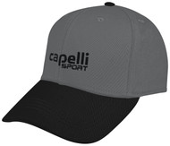 BASEBALL CAP WITH EMBROIDERED LOGO -- DARK HEATHER GREY BLACK