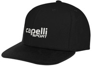 FLAT BRIM  CAP WITH EMBROIDERED LOGO -- BLACK WHITE