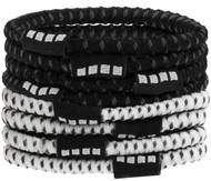 8 PACK NO SLIP ELASTIC PONY HOLDER  --    BLACK COMBO
