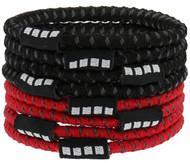 8 PACK NO SLIP ELASTIC PONY HOLDER  --   RED COMBO