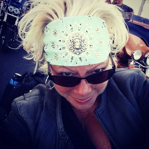 Val in a mint bandana, also in kelly green