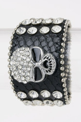 Bracelet, amazing bling bling leather skull rhinestone snap.  If you are in the Red Wing, Minnesota Mississippi River area, please swing into the Go Brazen.com store