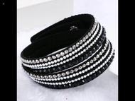Bracelet, Leather Rhinestone Wrap Black