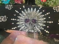 Bandana, Skull Sugar Metal Centerpiece Black & Purple FREE SHIPPING