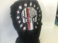 Headband, Thin Red Line Punisher Skull on Black FREE SHIPPING