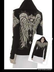 Jacket, Hoodie Angel Wing Fleur'  Rhinestones