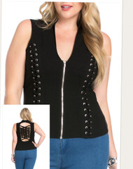 Top, Lattice Back Lace up the Side,  Black