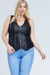 Top, Lattice Back Lace Up Side Small to 3x Black