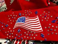 Bandana, American Flag on Red Fireworks Bursts FREE SHIPPING
