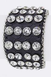Bracelet, Leather Rhinestone Snap Back