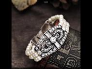 Bracelet, Pearl Faux Rhinestone