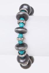 Bracelet, Turquoise aux w/Rhinestone Silvertone Stretch Najavo