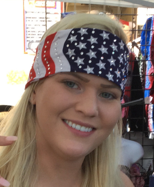 Bandana, Go Brazen makes the best bandanas.  American made with the finest of crystals.. dazzle all with this #amerianflag motorcycle or party bandana. Shop on line or swing on by our store in Red Wing, Minnesota.  Check out our other options of American Flag stars and stripes.