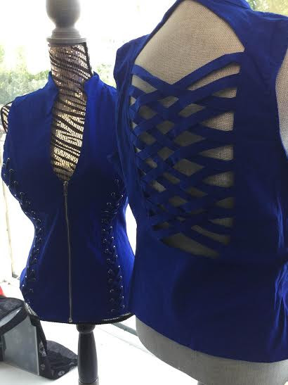 Top. zip front with braided sides and lattice back.. perfect for a night out, the boat or a motorcycle ride.  Go Brazen stocks up to 3x