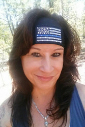 Headband, thin blue line, police lives matter.  This is a two ply headband, firm fitting with an embroidered patch and Swarovski crysals. Go Brazen makes other headbands as well along with thin blue line bandanas, men's too