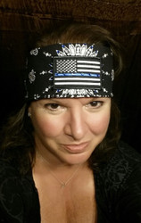 Bandana, Thine Blue Line with rhinestones. Go Brazen makes this in white and headbands too, as well as a men's version--a Mandana without bling. Custom available, too.  Check out all the amazing bandanas that Go Brazen makes or swing on by their store in Red Wing, Minnesota