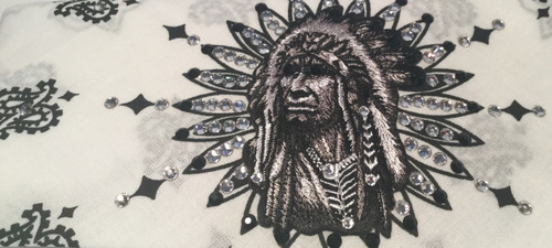 Bandana, Indian Chief on white, also available in black.  Check out the other Indian bandanas that Go Brazen offers either on line or swing on by there store in Red Wing, Minnesota