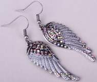 Earring, angel wing with clear and AB rhinestones, match it up with the necklace and bracelet for the wow factor.  Go Brazen has pink and purple and blue too!  Shop on line or swing on by our store in pretty Red Wing, Minnesota
