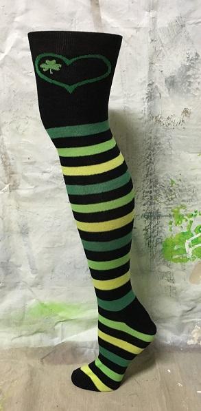 Green Striped over-the-knee high socks