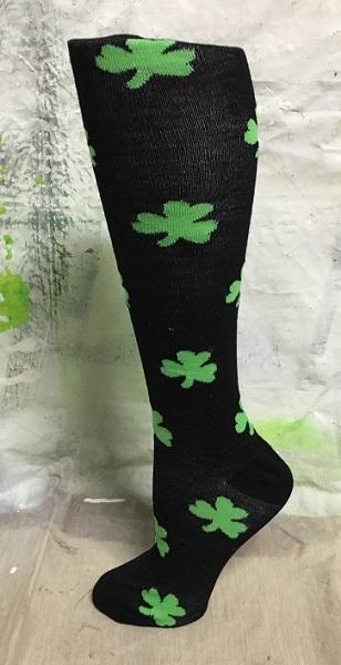 Black Knee High Socks with Green Shamrocks