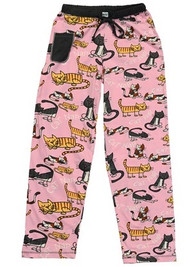 """Cat Nap"" cotton pajama pants by Lazy One in pink with napping cats and cell phone pocket"