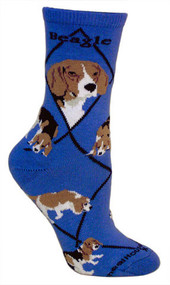 Beagle Socks in Blue by Wheel House Designs