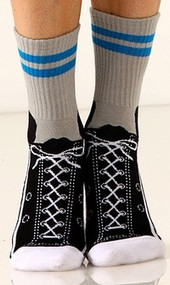 Gray with blue stripe Sneaker Slipper Socks - Front View