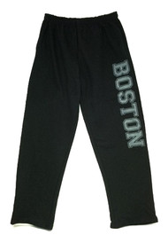 Heavyweight Gildan Sweatpants with pockets and open bottoms in Black with oversize Gray Boston imprint on one leg