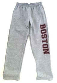 Boston Sweatpants with pockets in Sport Gray with oversize maroon Boston imprint on one leg