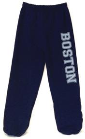 Navy blue Gildan sweatpants with oversize Boston imprint in Gray on one leg