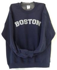 Boston Crewneck Sweatshirt in Navy Blue with light Gray imprint
