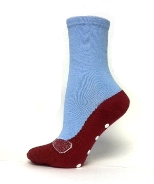 Ruby Slippers Socks in red and blue with non-skid bottoms by Foot Traffic - Side View