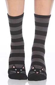 Black Cat Stripe Slipper Socks - Front View