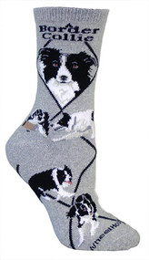 Border Collie Socks by Wheel House Designs - Gray