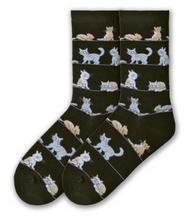 Cat Socks on black by K. Bell