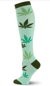 Pot Leaves Knee High Socks by K. Bell