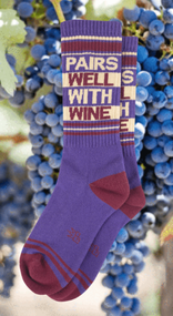Pairs Well with Wine socks by Gumball Poodle