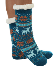 Sherpa lined slippers by Snoozies in Blue