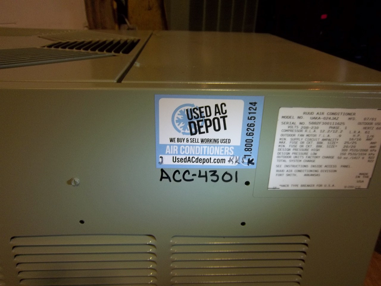used ac depot refurbished certified condenser ruud uaka 024jaz 1m rh usedacdepot com