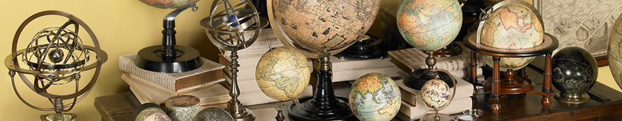 Our globes offer history at your fingertips and highlight some of the world's most famous cartographers: Mercator, Hondius, and Vaugondy.