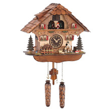 Black Forest Quartz Cuckoo Clock with Turning Mill Wheel plays 12 Different Melodies