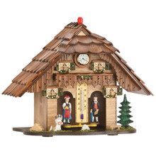 Black Forest Weather House with Thermometer and Quartz Clock