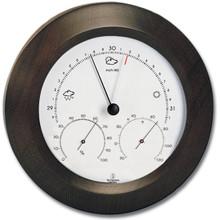 Analog Weather Station 8 inch Round Solid Wood Walnut Finish Barometer Hygrometer Thermometer Hokco