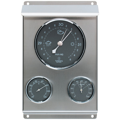Analog Weather Station Android Barometer Hygrometer Stainless Steel Hokco