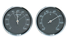 Analog Thermometer Analog Hygrometer Gauge Set Grey Chrome Hokco