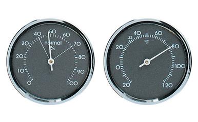 Analog Thermometer Analog Hygrometer Gauge Set Grey Chrome Hokco