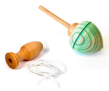 Pull-String Spinning Top, Light-Green