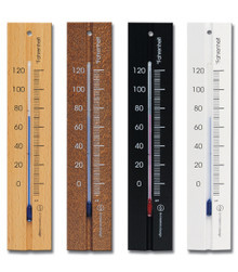 Analog Wall Thermometer Beech Walnut Black White Finish Hokco